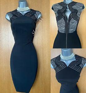 Karen Millen UK 10 Black Anglaise Embroidered Lace Formal Short Pencil Dress 38