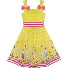 US STOCK! Girls Dress Cartoon Polka Dot Bow Tie Summer Sundress Size 2-8