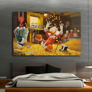 Home Wall Art Print Decor Canvas Painting Disney Miser Duck Donald Wealth 16x22