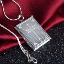 925 Sterling Silver Christian Jesus Cross Crucifix Bible Book Locket Necklace
