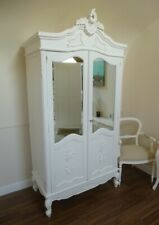 French Bordeaux Double Armoire Wardrobe In White - Shabby Chic Style Wardrobe