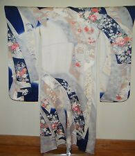 Vintage Cream & Blue Japanese Silk Furisode Kimono w/ Exquisite Floral