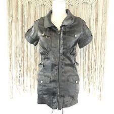 Mur Mur Women's Sz Small Moto Club Shirt Dress Tunic Metallic Silver Gray EUC