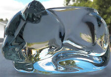 OUTSTANDING CRYSTAL CLEAR SLEEPING CAT FIGURINE INDIANA GLASS CANDLE HOLDER PLUS