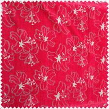 Telas y tejidos rojos florales de cortinas