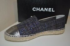 NIB CHANEL Espadrille Shoes CC Logo Patent Cap Toe Metallic Tweed Black  41 -11