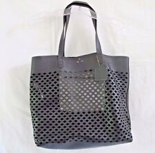 Kelsi Dagger Commuter Black Leather Cut Out Tote Shoulder Bag Brooklyn