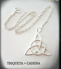 TRIQUETA CELTA PLATA DE LEY COLGANTE HANGING  CHARMED THE UNION OF THREE  SILVER