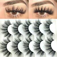 SKONHED 5 Pairs Mink False Eyelashes Wispy Cross Fluffy Extension Lashes Makeup