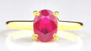 Finest 14KT Gold & Oval Shape 1.50 Carat Natural Burmese Red Ruby Solitaire Ring
