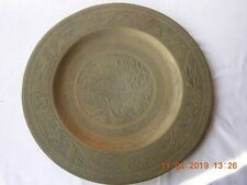 """Large brass Chinese Charger 3 Dragons 14"""" 34cms dynasty marks Da Ming on back"""