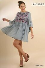 Umgee Cool Grey Floral Embroidered Detail Bohemian Dress Plus Size