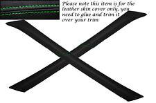 Vert coutures fits peugeot 205 2x PARE-BRISE un pilier de la peau en cuir couvre uniquement