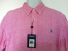 Polo Ralph Lauren Pink & White Gingham Check SS 100% Linen Size L NWT
