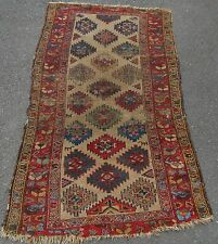 ANTIQUE COUNTRY HOUSE SHABBY CHIC PERSIAN KURDISH RUG  DOG MOTIFS 100 YEAR OLD
