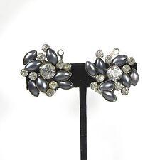 Vintage Leru Crystal Clear Rhinestone Earrings Clip On