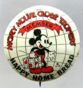 Happy Home Bread 1930's Disney MICKEY MOUSE GLOBE TROTTER pinback button *