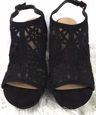 6195d29d4848 Torrid Size 9 Wide Platform Wedges Shoes Black Mesh Cutout