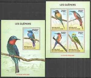 IC03 2014 IVORY COAST AFRICAN FAUNA BIRDS BEE-EATERS #1559-2+BL199 MNH