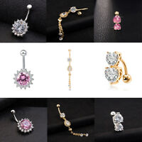 3x Fashion Lady Crystal Dangle Body Piercing Jewelry Navel Belly Bar Button Ring