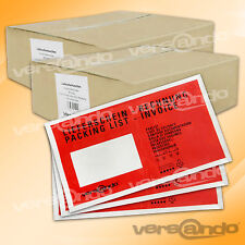 2000 rote Lieferscheintaschen Din lang Begleitpapiertaschen Begleitpapierhüllen