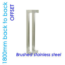 OFFSET ENTRANCE DOOR HANDLE 1800mm PULL SET STAINLESS STEEL LONG SQUARE