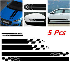 5Pcs Car Sticker Body Side Door Long Stripe Decals Rear Mirror Vinyl Decal Black