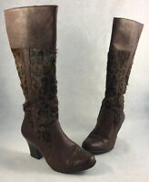 BORN Tall Leather and Pony Hair Leopard Print Designer Women's Boots Size 6