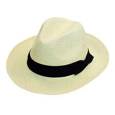 Unisex Straw Fedora Hat Wide Brim Summer Panama Style Hat One Size