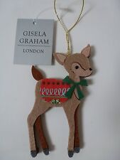 Gisela Graham Festive Felt Bambi Christmas Tree Decoration 6.5x10cm