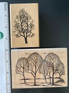Silhouette Grove & Tree Rubber Stamps-Embossing Arts Co & Hampton Art Stamps