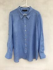 🍃 Womens Maggie T 100% Linen Long Sleeve Print Blouse Shirt Blue White Size 14