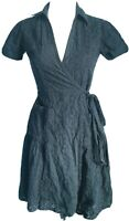 Joules Women's Dress Blue Size 8 100% Cotton Wrap Broderie Anglaise VGC