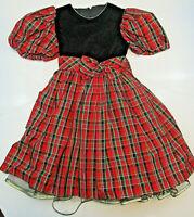 Vtg JAYNE COPELAND Dress Girls Sz 4 CHRISTMAS Holiday Red Black Gold Plaid *Flaw
