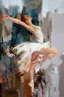 LMOP53 100% hand paint Abstract Modern Ballet Dancer Oil Painting art canvas