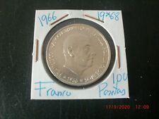 ESPAÑA  100 PTS FRANCO  1966  19*68 PLATA