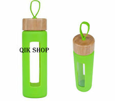 Glass Water Bottle / Travel Water Bottle with Bamboo Lid Wai Bamboo Loop Window