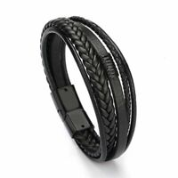 Men Bracelet Multilayer Leather Magnetic Cowhide Braided Wrap Trendy Bangles