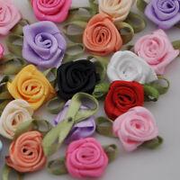 50pcs Satin Ribbon Flowers Bows Rose Sewing Wedding Appliques U pick E39