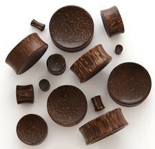 1 Pair (2) 6G 4mm Palm Organic Natural Wood Concave Saddle Plugs Ear Gauges 509
