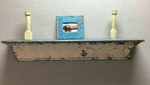 Architectural Destressed Embossed Reclaimed Tin Mantle Shelf Home Decor 465-BE