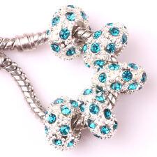 Fashion 5pcs Silver CZ nest big hole Beads Fit European Charm Bracelet DIY #A104