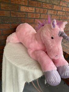 Large Pink Stuffed Unicorn Purple Tail & Mane Sparkly Hoofs Soft Plush