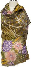 Schal scarf stole Wolle Seide wool silk bedruckt wool silk printed  Floral Olive