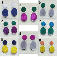 Charming Agate Druzy Silver Plated Stud Cum Double Sided Jacket Earring Jewelry