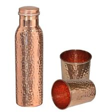 Hammered Indian Traditional Pure Copper Water Bottle 1000 ML & 2 Glass / Tumbler