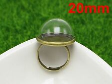 DIY Bronze Adjustable Ring with 20mm Clear Glass Dome Terrarium 1/2 Globe Bottle
