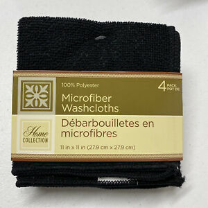 """Home Collection Black Microfiber Washcloths 11""""x11"""" 100% Polyester 4-Count Pack"""