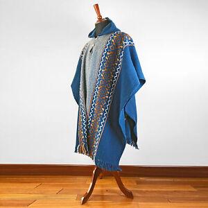Llama Wool Mens Unisex South American Hooded Poncho Cape Coat Jacket Navy Blue