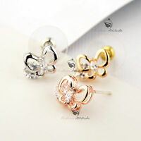 18k gold gf made with Swarovski crystal butterfly stud earrings 925 silver cute